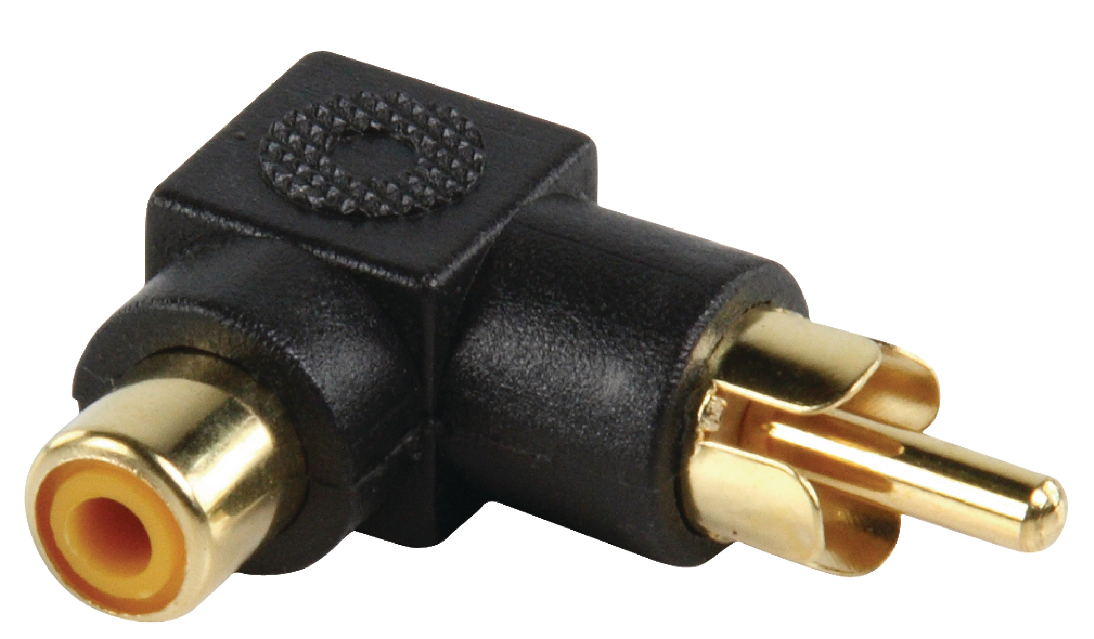 STEREO AUDIO ADAPTER ANGLED 90° RCA MALE - RCA FEMALE