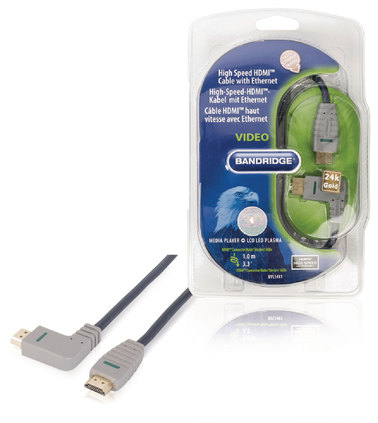 Bvl1411 Bandridge High Speed Hdmi Cable With Ethernet Angle Connector Angled