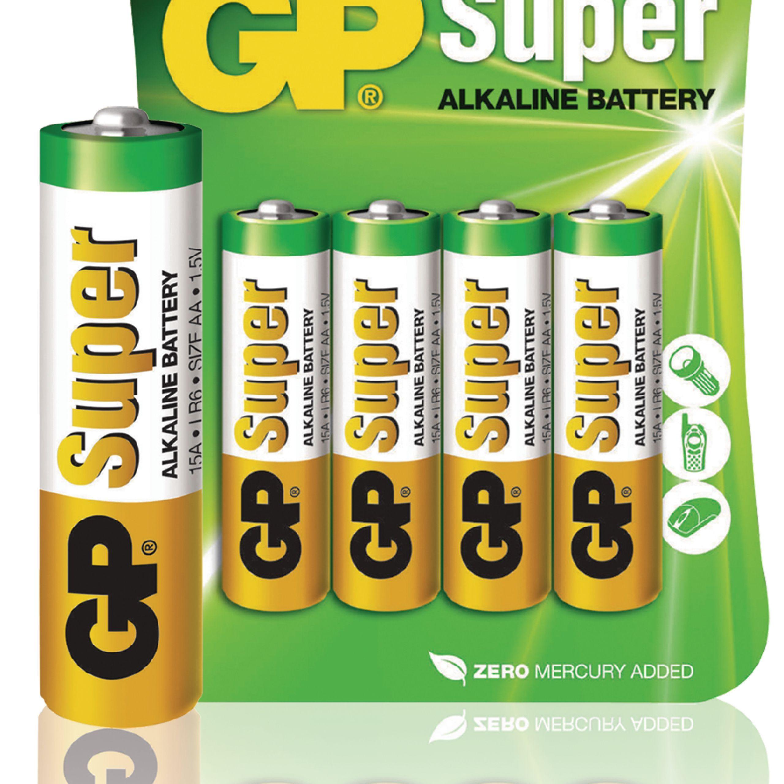 GPB1022 - GP - Alkaline Battery AA 1.5 V Super 4-Blister