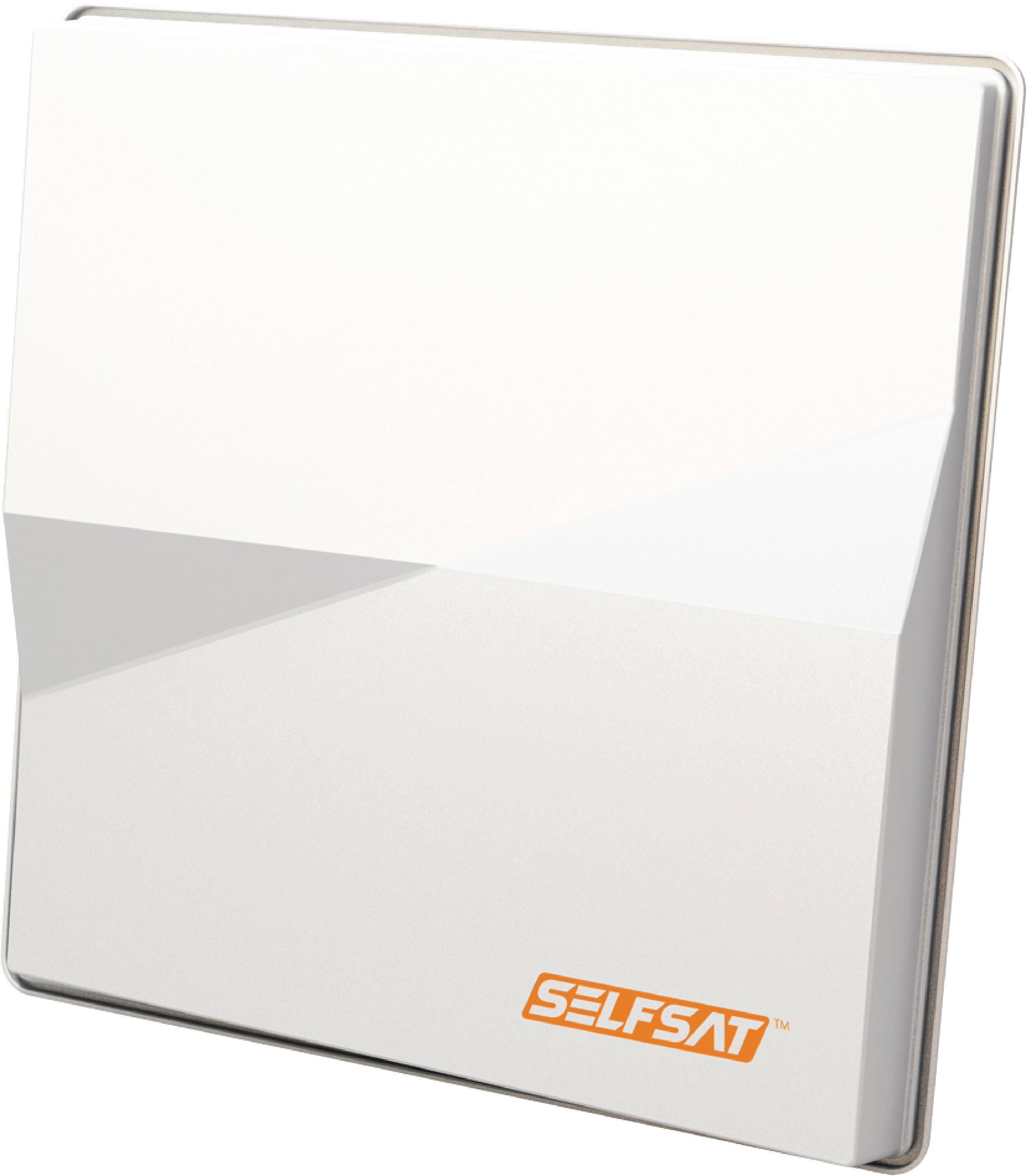 H50M4 FLAT SATELLITE DISH QUAD LNB WHITE
