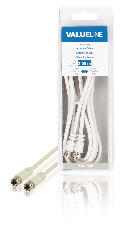 VLSB41000W20 Antennekabel F-Male - F-Male 2.00 m Wit